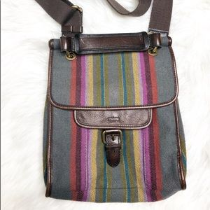 Fossil wool stripped leather Crossbody MINT